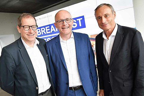 Hans-Willy Brockes, Christoph Harrer und Anton Schutti bei der Breakfast Session
